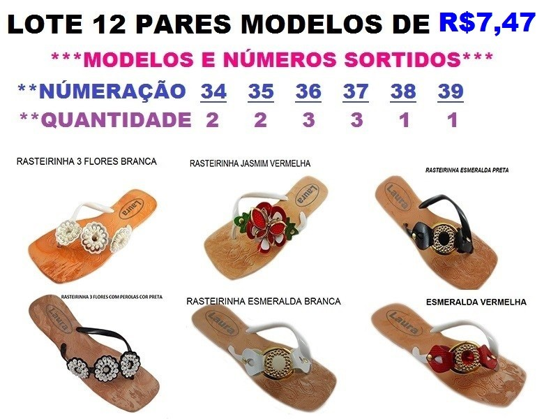8bca1d882 LOTE 12 PARES MODELOS DE R$7,47 SORTIDOS - A VISTA APENAS R$ 89,64 ::  PEDIMODA